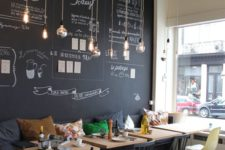 17 modern and cheerful coffee shop decor with a chalkboard wall and hanging bulbs