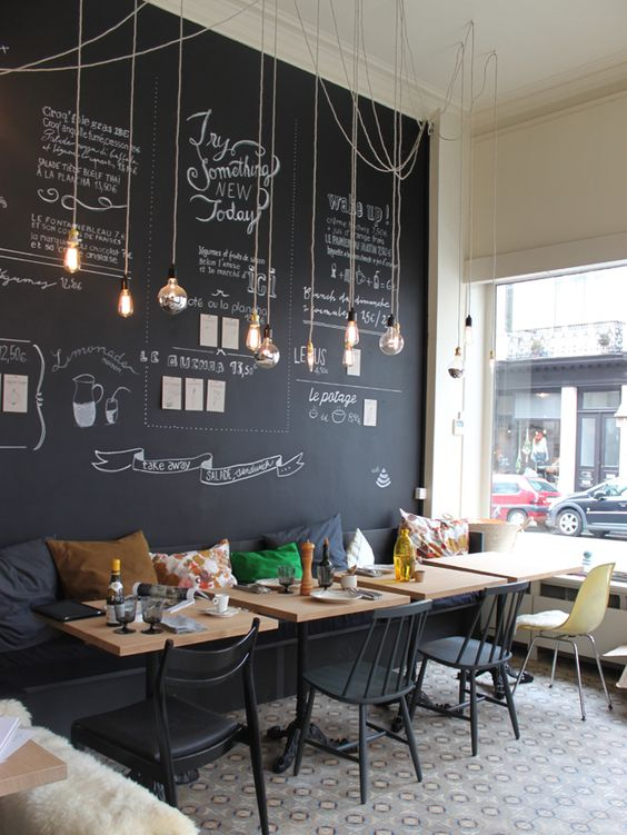 Modern And Cheerful Coffee Shop Decor With A Chalkboard Wall And Hanging  Bulbs
