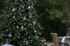 18 beachside Christmas tree with silver ornaments and star fish