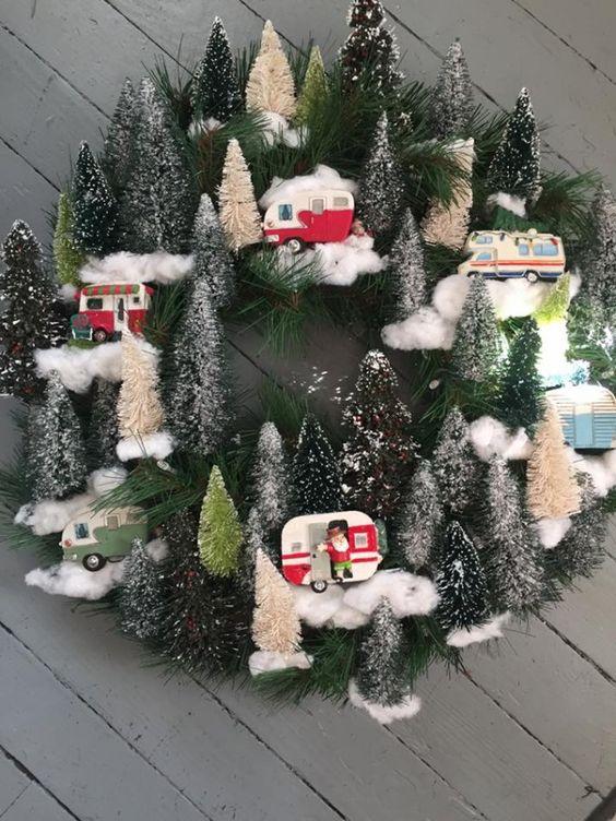 bottle brush camp inspired Christmas wreath