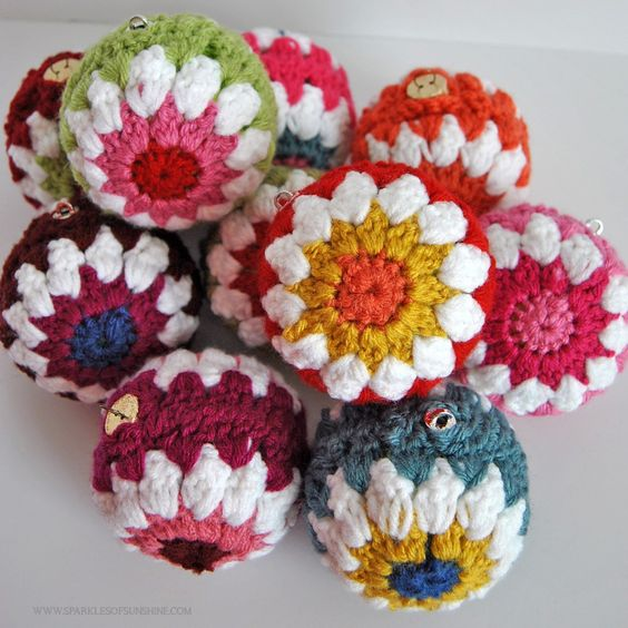 crocheted ball Christmas ornaments
