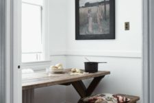 18 small dining area with a stained wooden table and benches