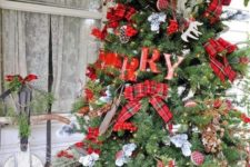 19 large rustic tree with plaid bows, letters, pinecones and antlers
