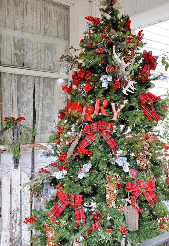 Large Rustic Tree With Plaid Bows Letters Pinecones And Antlers