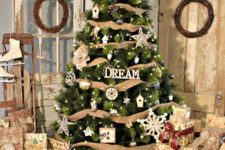 19 rustic tree decor with burlap and metallic and white ornaments