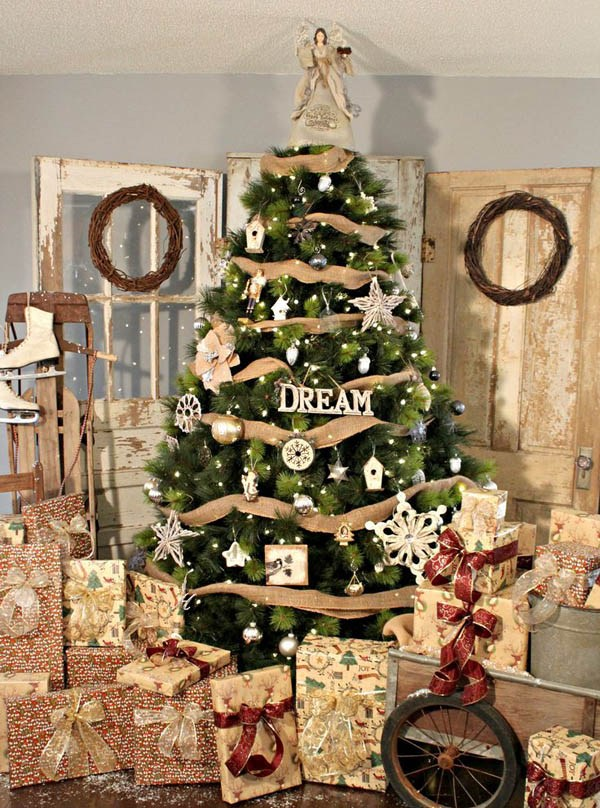 rustic tree decor with burlap and metallic and white ornaments