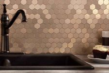 19 such a copper hexagon tile backsplash will give a refined touch to any kitchen
