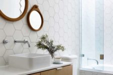 19 white hex tiles on the floors look cool with warm wood touches