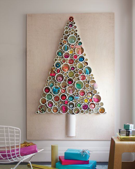 PVC pipe Christmas tree with ornaments put inside