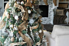 20 burlap garland and big pinecones on the tree
