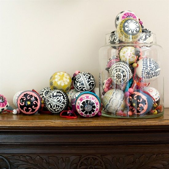 fun and whimsy ornaments displayed in a jar