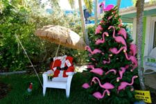 20 if it's too hot in your place, why not rock flamingo tree decor
