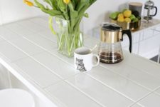 20 long tile countertop with white grout