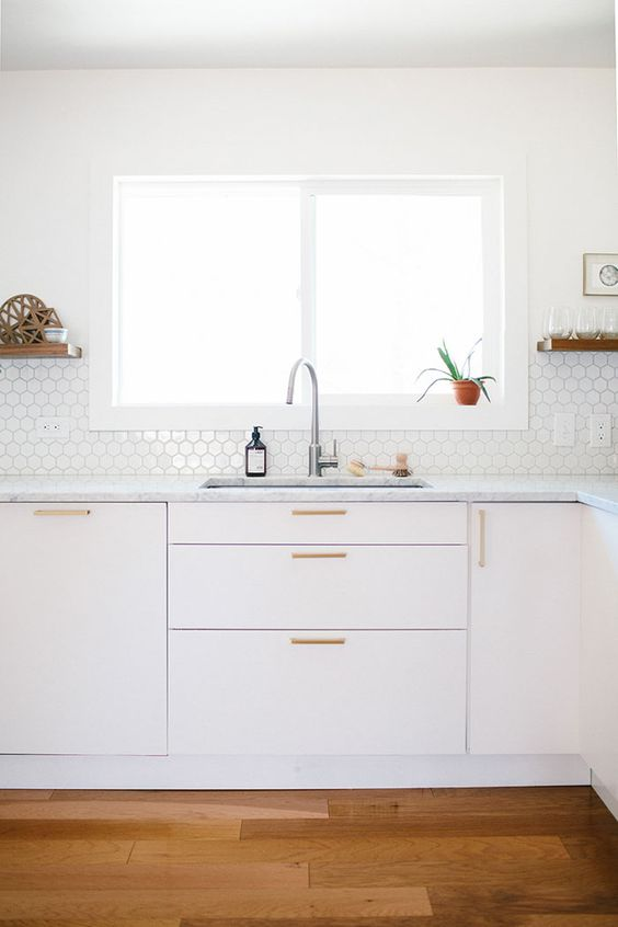 tiny white hex tiles for peaceful kitchen decor