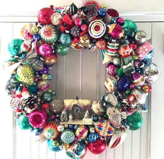 vintage ornaments wreath