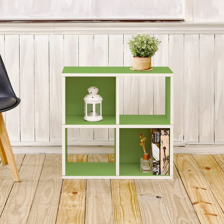 white and lime green cabinet for storage