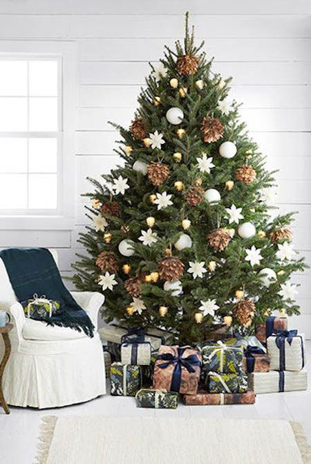 oversized pinecones, gold and white ornaments look elegant together