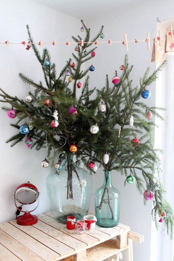 evergreen branches with bold vintage ornaments