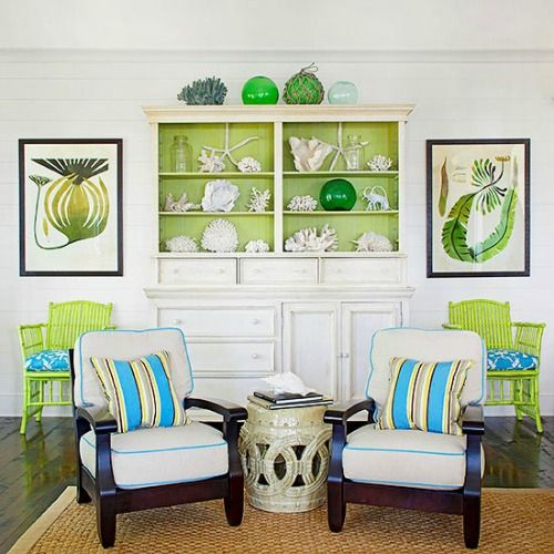 greenery chairs and the inner part of the display to make things stand out