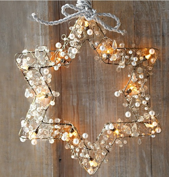 metal star decorated with pearls, crystals and string lights