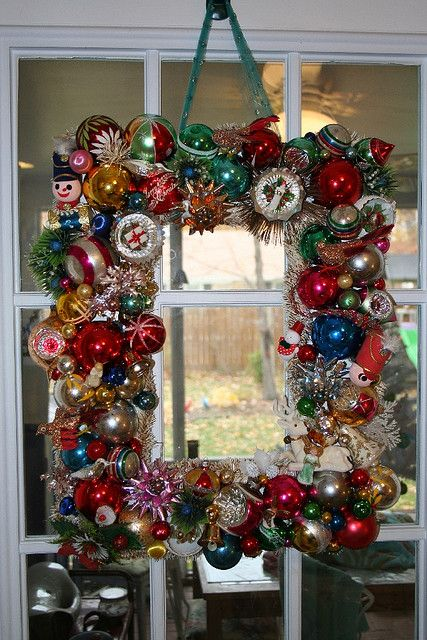 square vintage ornament wreath