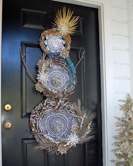 boho front door dreamcatcher snowman wreath