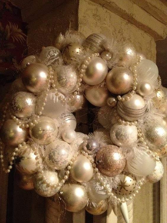 create your own shabby chic wreath or pearl, silver and ivory ornaments and beads