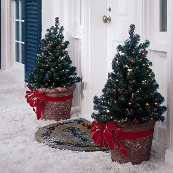 mini potted trees with lights and large red bows