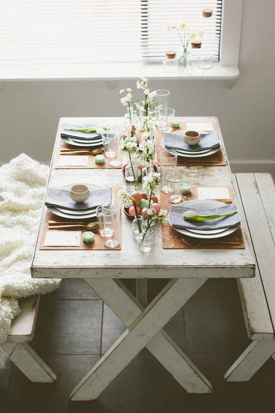 Rustic Shabby Chic Farm Inspired Table With Benches And Fur