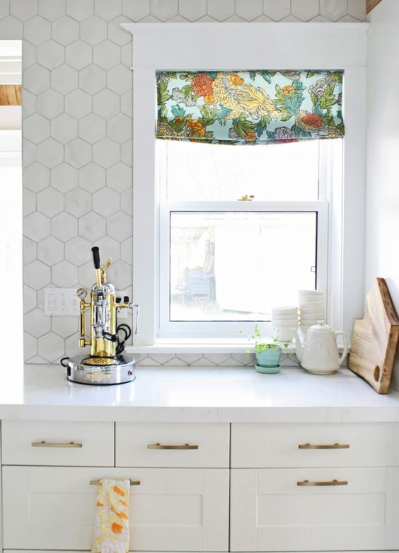 stylish marble hex tile on the kitchen floor