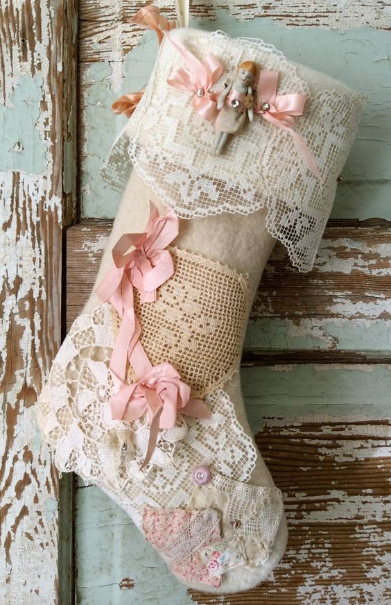 lace stocking with pink bows and buttons