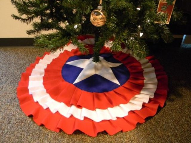 Captain America Christmas tree skirt