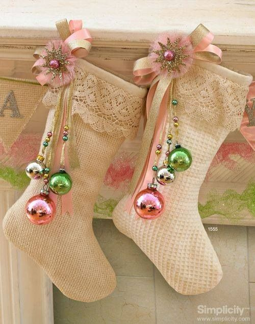 shabby stockings with lace and pastel ornaments
