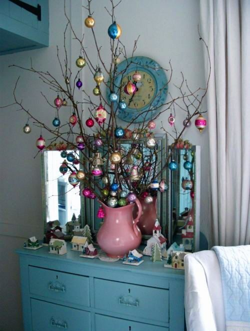 branches decorated with vintage ornaments for decor