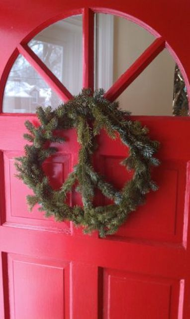 peace evergreen wreath without decor