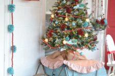 26 retro Christmas tree with red and aqua decor for a shabby chic porch