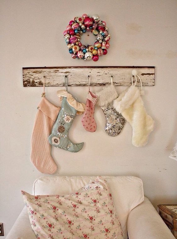 shabby chic stockings assortment and bold vintage ornaments wreath