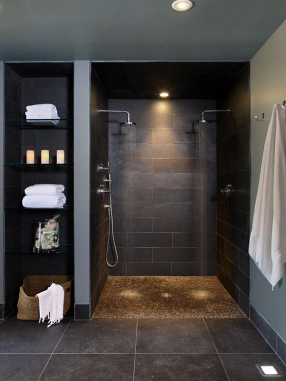 Bon Dark Colored Basement Walk In Shower And Glass Shelves On The Side