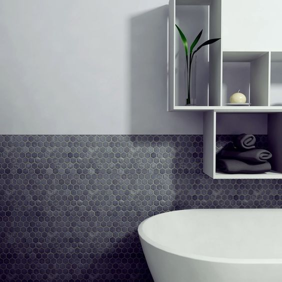 Merveilleux Dark Hexagon Tiles For A Bathroom Backsplash Works Well Even Without Border  Tiles
