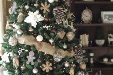 27 felt ornaments, large pinecones, burlap ribbon and brown ornaments