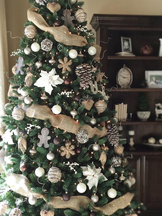 felt ornaments, large pinecones, burlap ribbon and brown ornaments