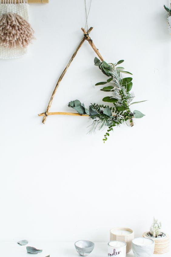 foraged triangle Christmas wreath with greenery