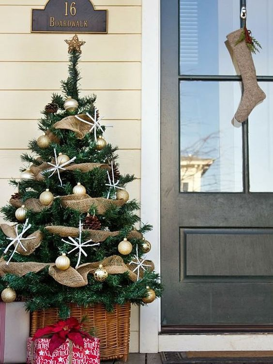 rustic tree decor with a basket, gold ornaments and burlap deco  mesh