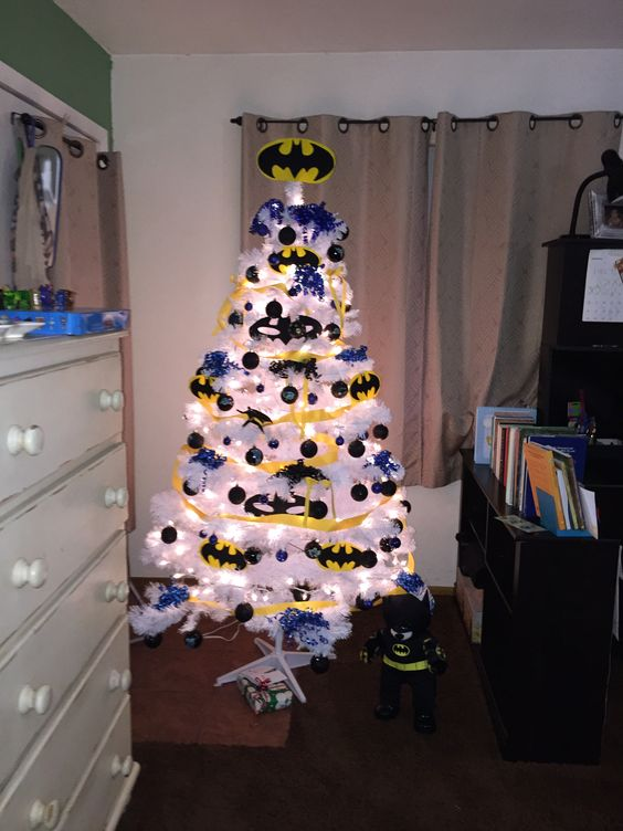 white Batman Christmas tree with yellow and black decor