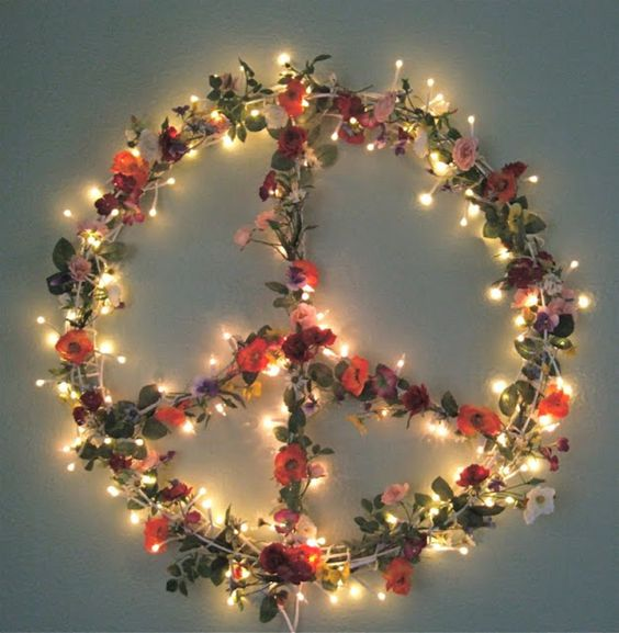 boho floral Christmas peace sign wreath