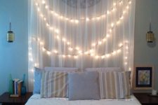 28 curtain headboard with hanging lights