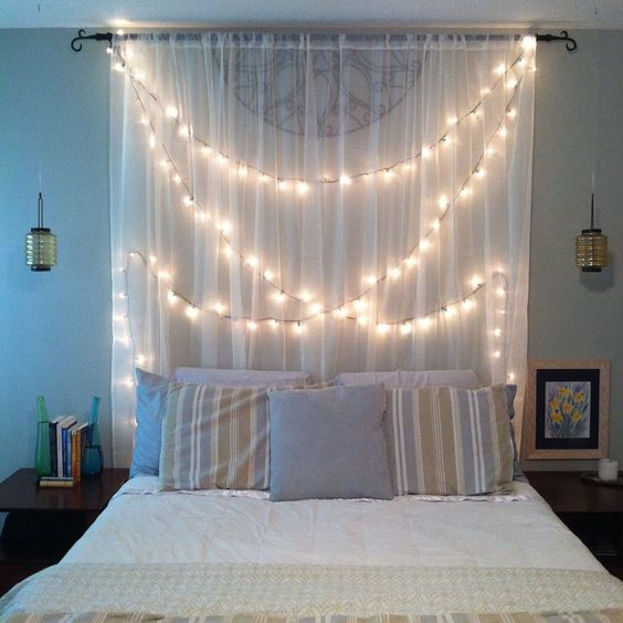 curtain headboard with hanging lights