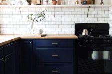 28 geometric honeycomb floor tiles fit navy cabinets