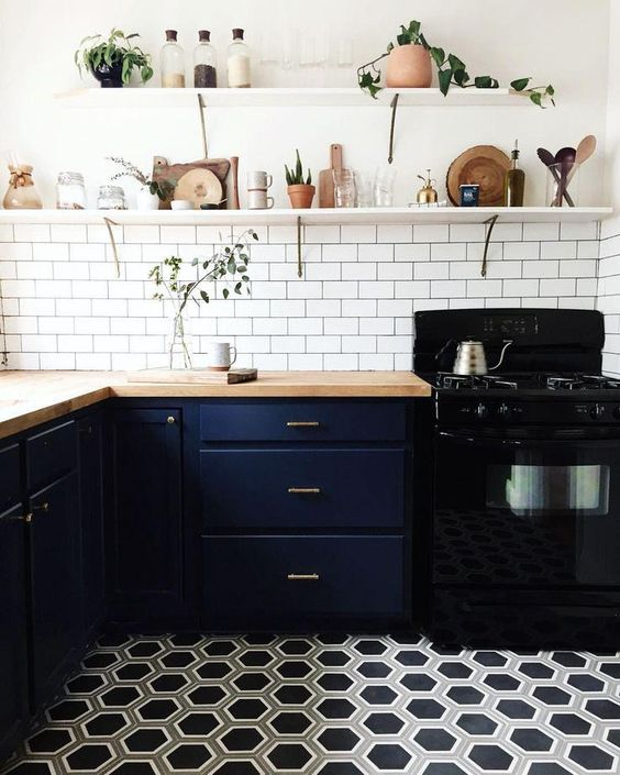 Geometric Honeycomb Floor Tiles Fit Navy Cabinets