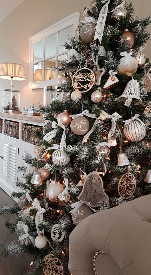 pinecones, large ornaments and neutral colors